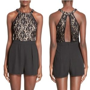 NWT✨Nordstrom's Leith Black & Nude Lace Romper L